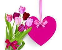 Heart banner and flowers Stock Photography