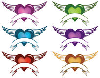 Heart banners. Abstract illustration of 6 different colour  hearts with wings and place for text Royalty Free Stock Images