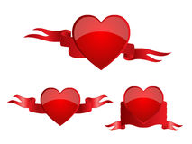 Heart banners red Stock Photography