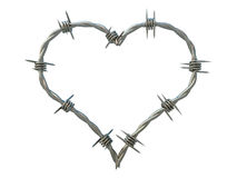 Heart of Barbed Wire. Metallic heart of barbed wire Royalty Free Stock Photos