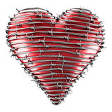 Heart with barbed wire. 3D rendering of a heart with barbed wire around it Stock Photo