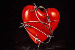 Heart in Barbed Wire on Black Stock Photo