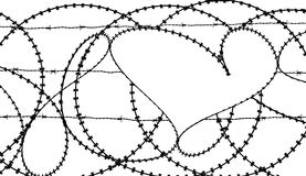 Heart in barbwire fence Royalty Free Stock Photography