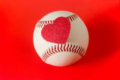 Heart on baseball Royalty Free Stock Image