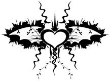 Heart with bat wings in black isolated Royalty Free Stock Photo