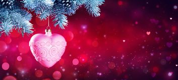 Heart Bauble Hanging At Fir Branches Stock Image