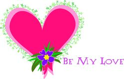 Heart with Be My Love Message royalty free illustration