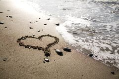 Heart at the beach royalty free stock photography