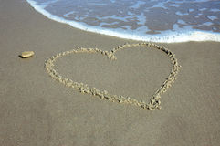 Heart on beach Stock Photos