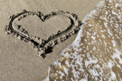Heart on a beach. Heart which is drawn on sea sand Royalty Free Stock Photos