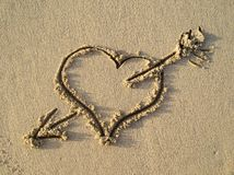Heart on the beach Stock Images