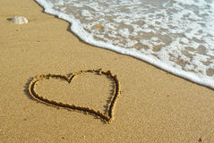 Heart on beach royalty free stock photo