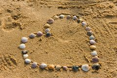 Heart on the beach maked with shell Royalty Free Stock Photo
