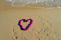 Heart On The Beach - Love Message In The Sand Romance Valentines Stock Photos