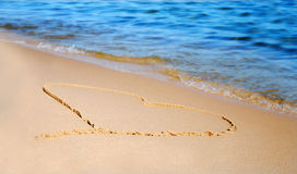The heart on beach sand Royalty Free Stock Photo