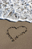 Heart on beach sand Royalty Free Stock Photography