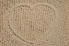Heart on the beach in the sand drawing Royalty Free Stock Image