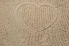 Heart on the beach in the sand drawing Stock Image