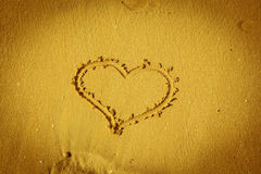 The heart on beach sand Stock Image