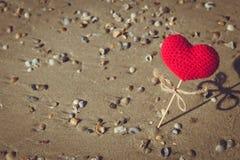 Heart on the beach, summer sea love Stock Photos
