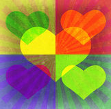 Heart, beams, rectangles grunge background. Stock Image