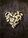 Heart from beans. Artistic food decorations, love Royalty Free Stock Images