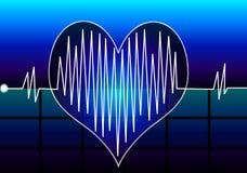 Heart Beat. Illustration with Heart Beat on dark blue background Stock Photos