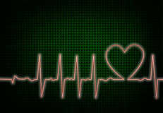 Heart beat. On green cross checked background stock illustration