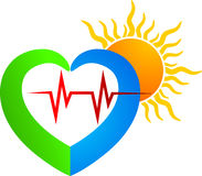 Heart beat. Illustration art of a heart beat with sun logo Royalty Free Stock Image