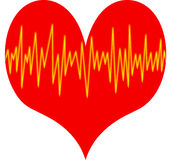 Heart beat. Red heart with yellow oscillating lines Stock Photos
