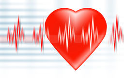 Heart beat. Illustration depicting a graph from a heart beat and a heart Royalty Free Stock Photos