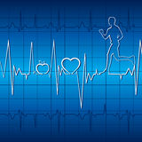 Heart beat with apple ,heart and running men in gr Stock Photo