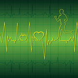 Heart beat with apple ,heart and running men in gr Royalty Free Stock Images
