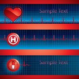 Heart beat banner. Heartbeat on blue background - three medical banner Royalty Free Stock Photos