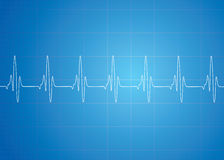 Heart Beat On Blue Background Stock Photos