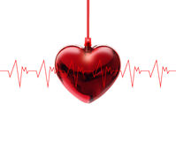 Heart beat of a Cardiac Frequency on white background Stock Images