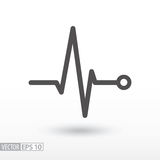Heart beat. Cardiogram. Cardiac cycle. Medical icon. Cardiac cycle flat icon. Sign Heart beat cardiogram. Vector logo for web design, mobile and infographics Royalty Free Stock Photo