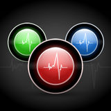 Heart beat on colored round web buttons Royalty Free Stock Photos