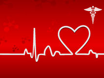 Heart beat on display on a red background Royalty Free Stock Photo