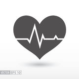 Heart beat - flat icon. Cardiac cycle flat icon. Sign Cardiogram. Medical icon. Vector logo for web design, mobile and infographics. Vector illustration eps10 Stock Photos