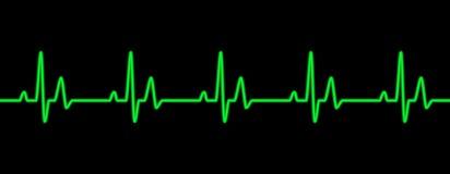 Heart beat line. Green on black royalty free illustration