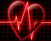 Heart beat on a monitor royalty free stock photo