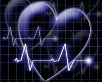 Heart beat on a monitor Royalty Free Stock Photos
