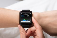 Heart Beat Monitor On Smart Watch Royalty Free Stock Photo