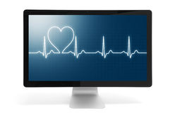 Heart beat online. Heart beat on computer monitor. Isolated over white background stock images