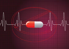 Heart Beat On Pill Background Stock Image
