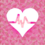 Heart beat on pink dazzled triangle background Royalty Free Stock Images