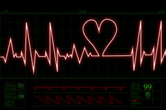 Heart beat pulse. Picture of human pulse with heart shape beat Royalty Free Stock Photography