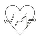 Heart beat pulse cardiac medical thin line Royalty Free Stock Images
