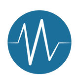 Heart beat pulse monitoring blue background Royalty Free Stock Images